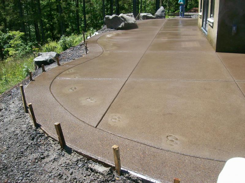 sand finish radius patio expose aggregate border sealed concrete creswell oregon